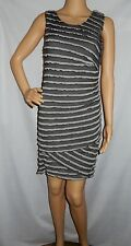"""DECJUBA"" - BNWT - Size XS - ""CHARCOAL"" Licorice Stripes Stick Sleeveless Dress"