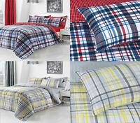 Check Blue Duvet Cover Set Quilt Bedding Pillowcase Single Double King