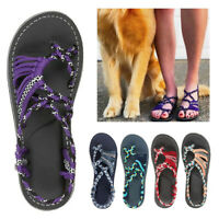 US Stock Bohemian Flat Flip Flop Sandals Summer Women Bandages Beach Shoes Size