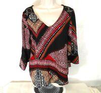 Figueroa and Flower Tunic BOHO Top Shirt Women Size S Sheer Lace Multi-Color