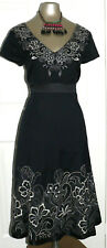 MONSOON Black Cotton and Silk Embroidered Fit Flare Dress size 14 EU 42