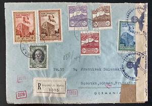 1943 San Marino Censored Registered Cover To Sobotka Bohemia Moravia