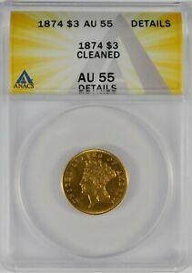 1874 $3 Princess Indian Head Gold Three Dollar Coin ANACS AU55 Details