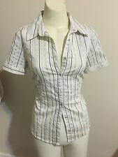Events Stripe Shirt Gold White Black Stretch Shine Short Sleeve Collar Button up
