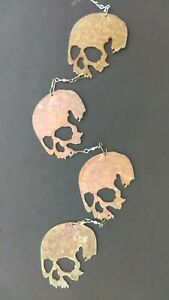 Four Skulls Metal Wind Catcher Spinner Rustic Garden Motorcyclists Bikers