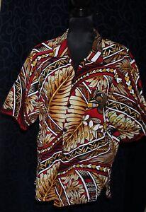 retro vintage style ALOHA ish shirt barkcloth type fabric tribal print 124cm ch