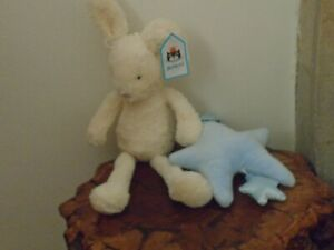 JELLYCAT  STAR BUNNY BLUE MUSICAL PULL SOFT TOY. NEW