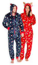 Mens Ladies Christmas 1Onesie1 Unisex Xmas Fleece Jumpsuit Red Navy XS S M L XL