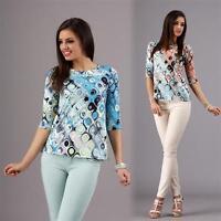 Longshirt Bluse Tunika Muster in 3 Farben Gr. 36 38 40 42 / S M L XL, M75