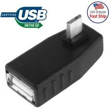 90 degree Right Angle Micro USB 2.0 OTG Host Adapter w/USB Power for Samsung