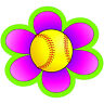 40 Softball Flower 1 inch reward decals for batting helmets ATTN COACHES!!
