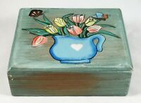 Box Vintage Wood Hand Made Painted Trinket Flowers Blue Jewelry Primitive Wooden