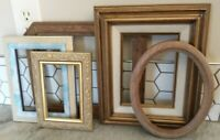 """Vintage  Wood PICTURE FRAME Lot Recycle Arts Crafts Project Deco gold 4x6-8x10"""""""