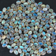 A PAIR OF 7x5mm OVAL CABOCHON-CUT NATURAL AFRICAN LABRADORITE GEMSTONES