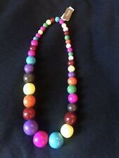 Wooden Bead Necklace Natasha Brand New Bright Multi Color Whimsical Xl
