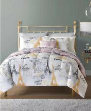 Paris Eiffel Tower, Pink & White Reversible Full 12 Piece Comforter Set Bed Bag