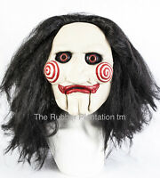 Latex Mask With Hair Puppet Full Head Halloween Wig Scary Horror Fancy Dress