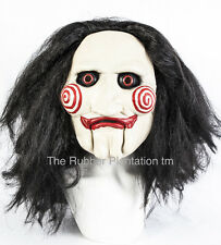 Latex Maske Mit Haaren Billy Puppe voller kopf halloween tobin bell jigsaw