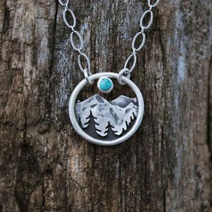 Retro Women 925 Silver Chain Necklace Round Peak Moon Sunset Sweater Pendant