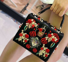 Luxury Tattoo Spanish Inspired Pearl Embroidery Box Grab/Shoulder Bag Black/Red
