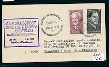 95654) LH FF Frankfurt - Casablanca 1.4.71, Brief ab DDR SP Rostock..