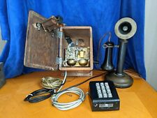 Antique Western Electric Candlestick Telephone W/ Oak Ring Box Ca. 1916