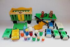 VINTAGE FISHER PRICE LITTLE PEOPLE CARS CIRCUS TRAIN MONKEY BEAR RIG COPTER MINI