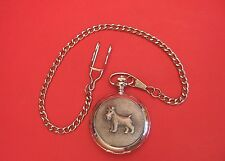 Miniature Schnauzer Pocket Watch Pewter Front Albert Chain Pet Fathers Day Gift
