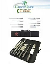 Coltelli/Coltello da cucina professionali in acciaio inox set 8 pz in custodia