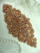 """DH8 Rose Gold Applique Crystal Glass Rhinestones Beaded Bridal Sash Patch 6"""""""