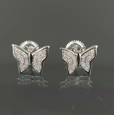 Natural Diamond 0.15 CT Butterfly Earring in 10K White Gold