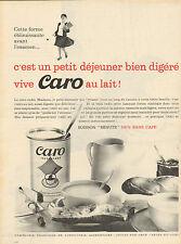 """Publicité 1961  CARO au lait ... petit déjeuner ... boisson """"minute"""""""