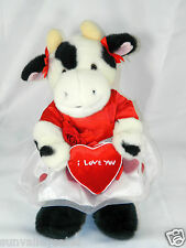 Build a Bear White Black Moo Cow Sounds Red Dress & Heart I Love You Valentines