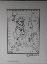 CAPTAIN AMERICA BLACK WHITE ART LITHOGRAPH JOE SIMON HAND SIGNED COA 9/70