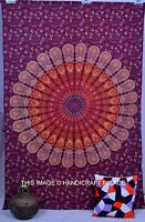 Indian Bordeaux Tapisserie Mandala Hippie Hippy Tenture Murale Dortoir