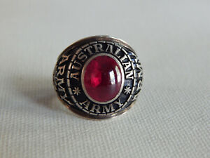 Sterling Silver Red Stone Austrailian Army Ring Sz 10
