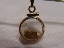 CHARM PENDANT GOLD FLAKES FROM PANNING ENCASED IN GOLD FILLED VINTAGE HOLDER