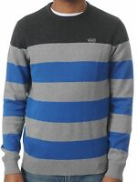 Vans Sylmar classic grey blue striped cotton crew neck knitted jumper size M-XL