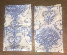 Vintage 2 Curtain Panels, Sheers Blue White Motif Flowers, Pretty