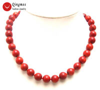 """9-10mm Genuine Round Red Natural Coral 17"""" Chokers Necklace for Women Jewelry"""