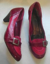 Lotus Ladies Red Leather + synthetic shoes small heel buckle on front UK 6 EU 39