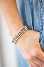 Paparazzi pink encrusted rhinestones,silver beads stretch bracelet