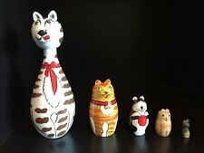 Bits And Pieces Five Wooden Nesting Cats Hand Painted In Original Box