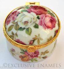 Alastor Enamels With Love Valentine Roses Round Hinged China Trinket Box