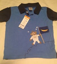 Gymboree Stripes In Space Boys Short Sleeve Shirt Size 18-24 Months Monkey Nwt