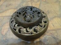 "vintage 5"" brass potpourri bowl with pierced floral leaf designs - made in India"