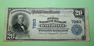 rare city bank note Waterville MN $20 no 7283 X779843H series 1902 large