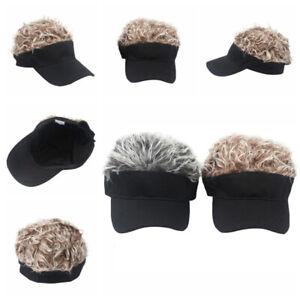 Unisex Sports Baseball Cap Golf Hat Fake Flair Hair Sun Visor Wig Hat Outdoor