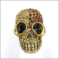 Skull Skeleton Finger Cocktail Stretch Ring Jewelry Rhinestone Brown VTG Design