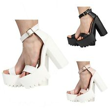 eab622d2dfc4 WOMENS LADIES ANKLE STRAP PLATFORM HIGH HEEL CLEATED SANDALS SHOES SIZE 3-8